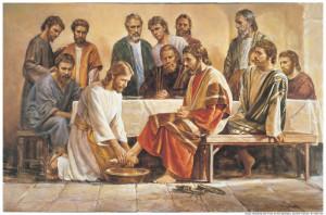 Jesús lava los pies a los apóstoles