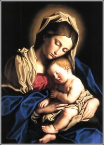 Jesús bebé en los brazos de María