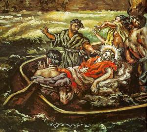 Pintura de Jesús dormido en la barca
