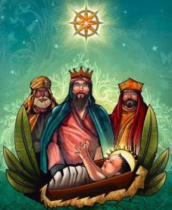 Reyes magos visitando niño Jesús