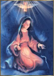 Imágenes del espíritu santo sobre la virgen maría
