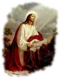 Jesús Orando en una roca